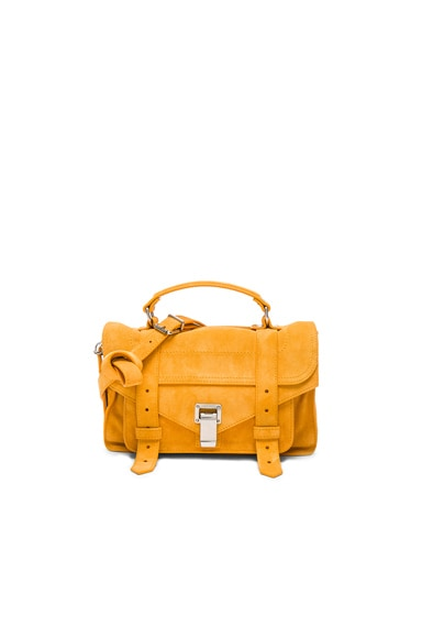 Proenza Schouler Tiny PS1 Suede in Sunflower