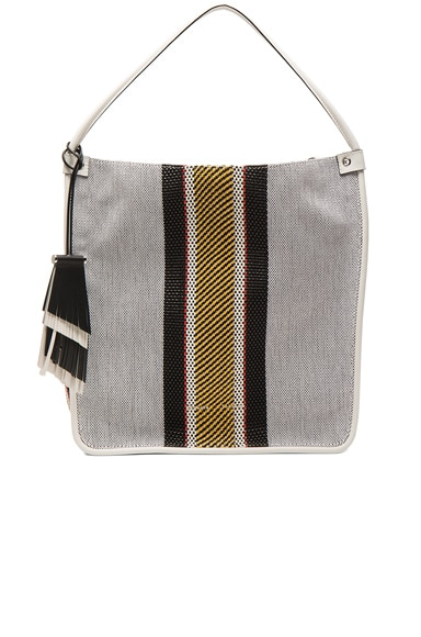 Proenza Schouler Medium Tote Woven Stripes in Optic White Mix