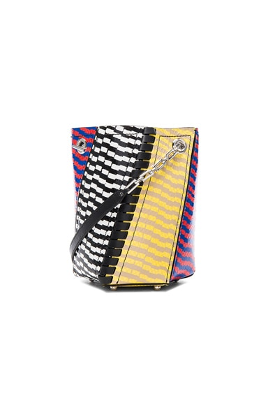 Proenza Schouler Crossbody Hex Bucket Bag Mixed Printed Ayers in Black, Yellow & Geranium