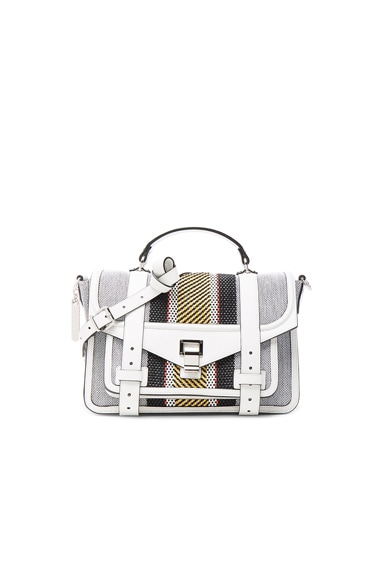 Proenza Schouler Medium PS1+ Woven Stripes in Optic White Mix