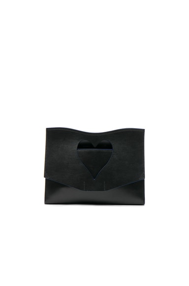 Proenza Schouler Medium Cut-Out Curl Leather Clutch in Black