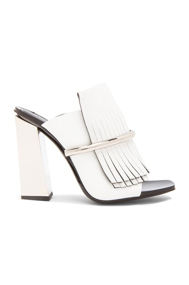 Proenza Schouler Leather Fringe Mules in White & Silver