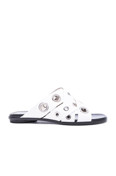 Proenza Schouler Eyelet Slide Sandals in White