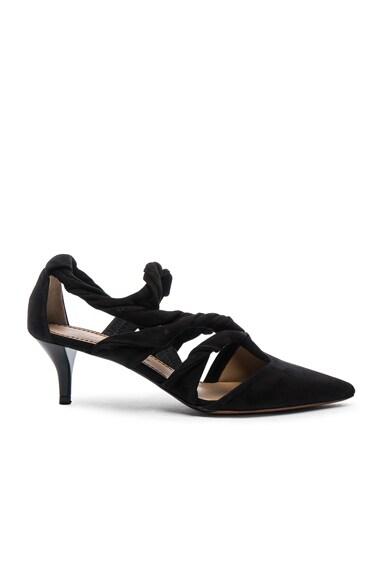 Proenza Schouler Suede Knotted Kitten Heels in Black