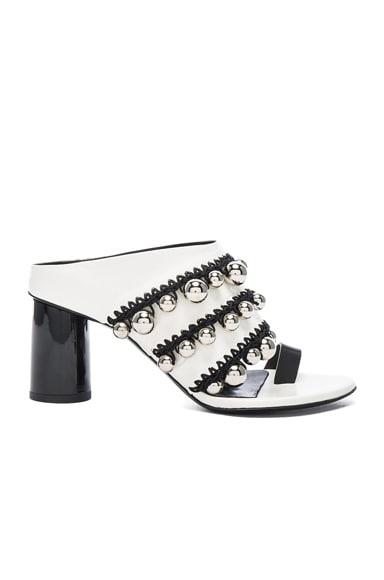 Proenza Schouler Studded Leather Mules in White & Silver