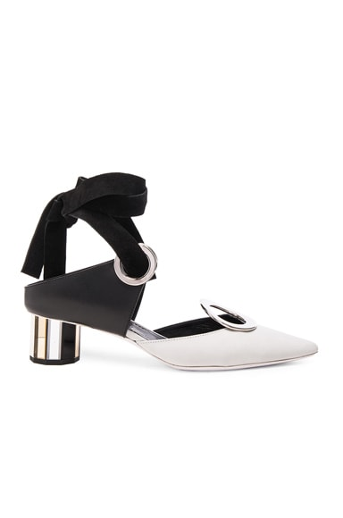 Proenza Schouler Grommet Leather Heels in White & Black