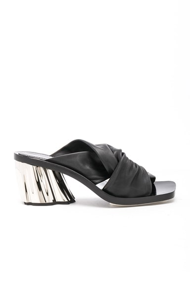 Leather Knot Heeled Sandals