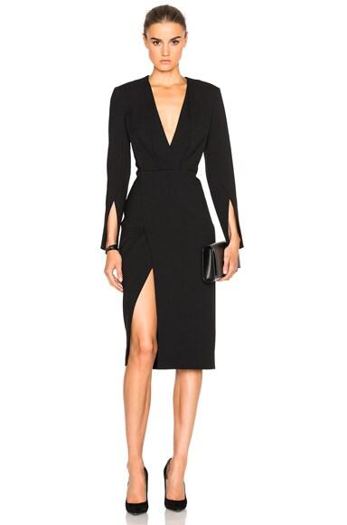 Protagonist Deep V Tailored Dress in Jet Black