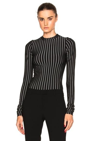 Protagonist Extended Sleeve Bodysuit in Stripe