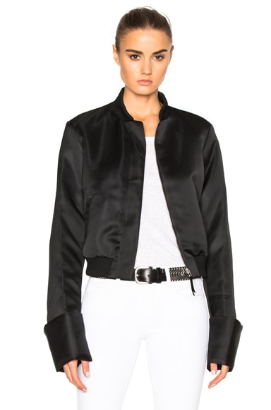 Protagonist Exaggerated Sleeve Bomber Jacket in Jet Black