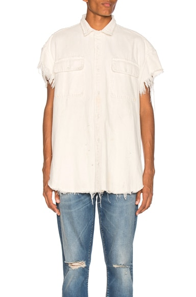 R13 Oversized Cut Off Shirt in Kenmare