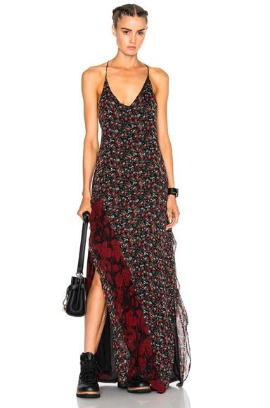 R13 Slit Slip Dress in Black Floral Chiffon