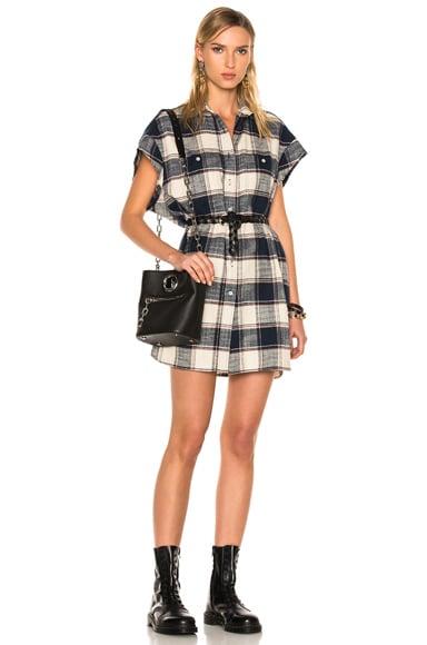 R13 for FWRD Exclusive Cut Off Sleeve Shirt Dress in Ecru & Navy Plaid