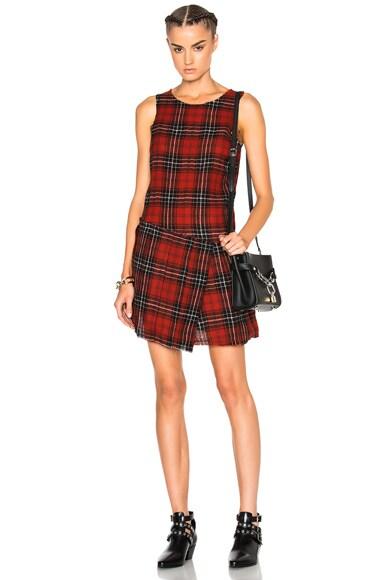 R13 Asymmetrical Kilt Dress in Red Plaid