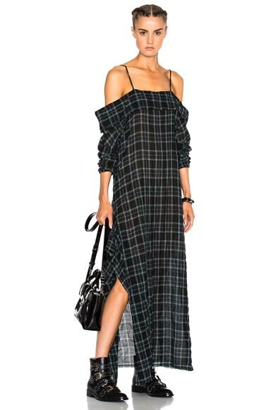 R13 Apron Dress in Green & Black Plaid