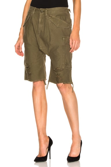 R13 Harem Cargo Short in Fatigue Olive