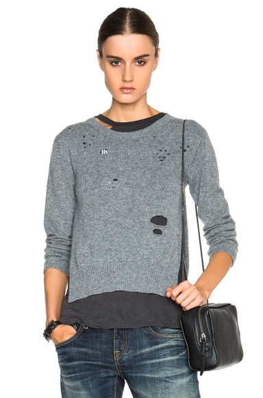 R13 Light Cashmere Sweater in Heather Grey