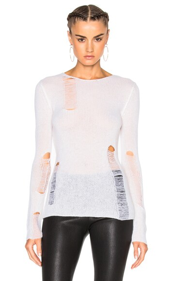 R13 Lightweight Shredded Sweater in Creme