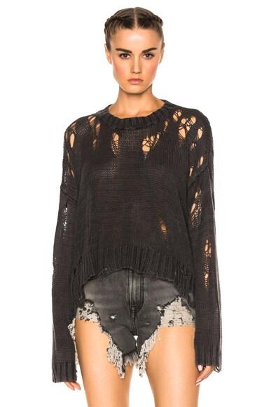 Shredded Side Slit Sweater