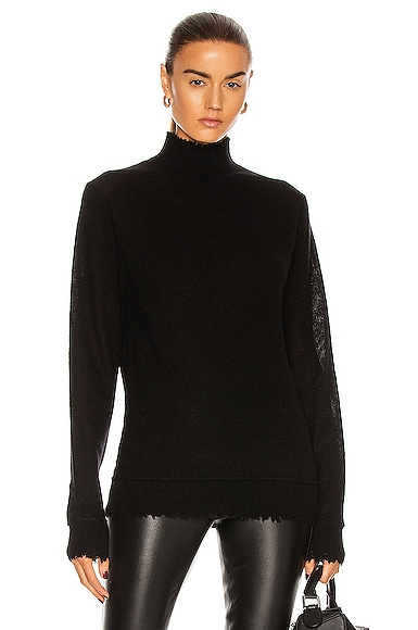 Distressed Edge Cashmere Turtleneck Sweater