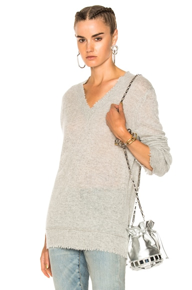 Distressed Edge V Neck Sweater