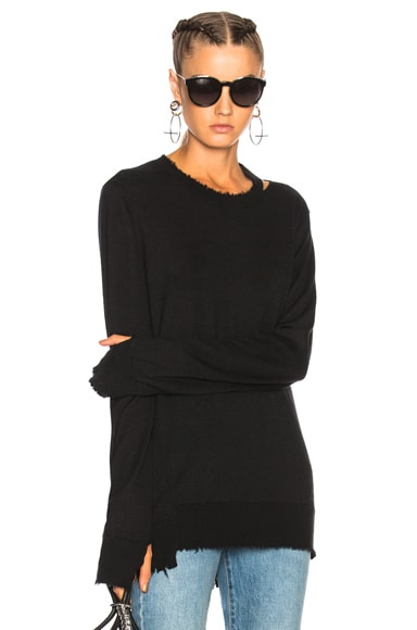 Misaligned Crewneck Sweater