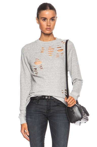R13 Shredded Zip Side Cotton Sweatshirt in Light Heather