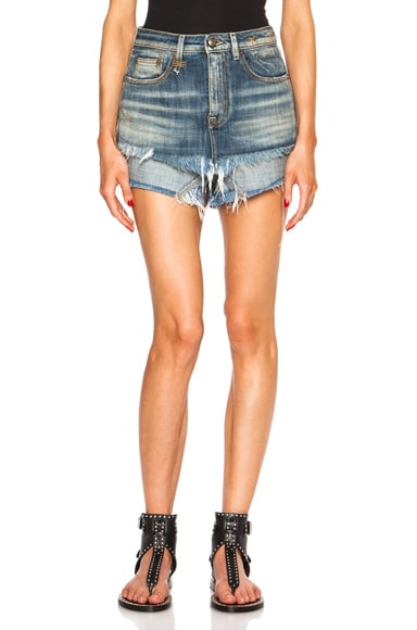 R13 Double Layer Short in Medium Frayed