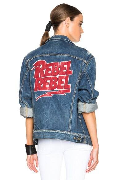R13 Embroidered Rebel Trucker Jacket in Rocket Blue