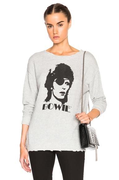 R13 Bowie Distressed Sweatshirt in Heather Grey