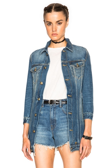 R13 Long Tailored Trucker Jacket in Equalizer Blue