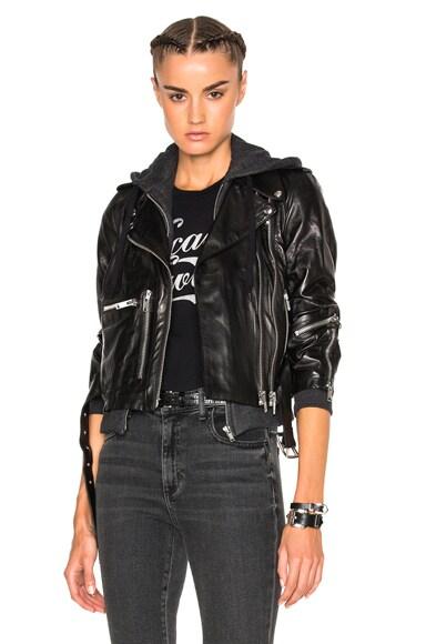 R13 Hooded Moto Jacket in Black