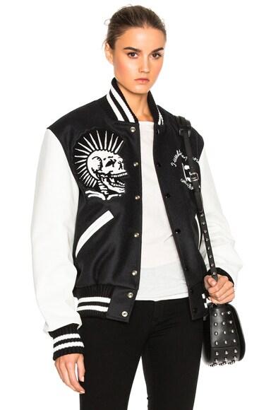 R13 Vintage Varsity Jacket in Black