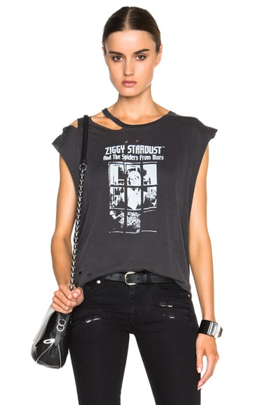 R13 Bowie Ripped Tee in Washed Black