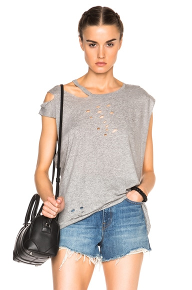 Sleeveless Ripped Neck Tee