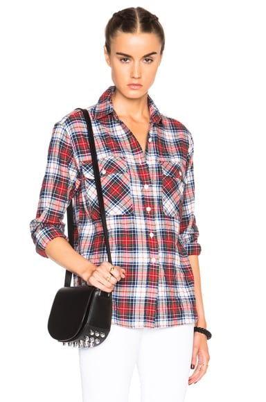 R13 Zipper Back Top in White & Red Plaid