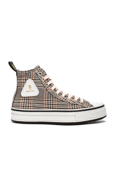 Plaid Twill Hi-Top Sneakers