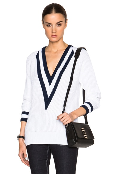 rag & bone Talia V-Neck Sweater in White