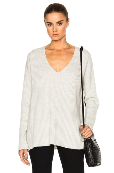 Rag & Bone Phyllis Cashmere V Neck Sweater in Light Grey
