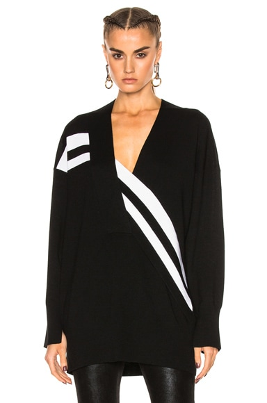 Rag & Bone Grace V-Neck Sweater in Black & White