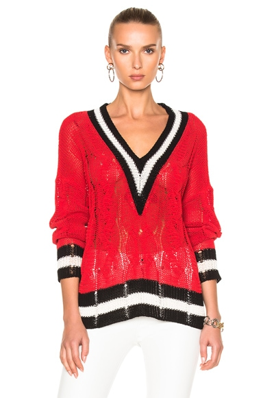 Rag & Bone Emma V-Neck Sweater in Red