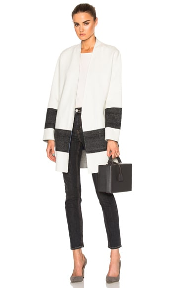 Rag & Bone Elgin Reversible Blanket Coat in Blanc & Black