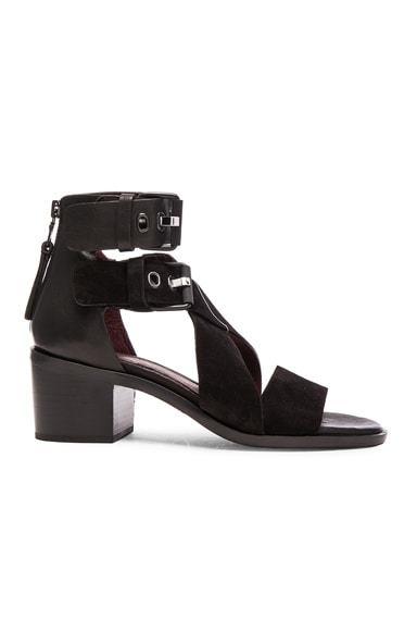 rag & bone Madrid Leather Sandals in Black Suede