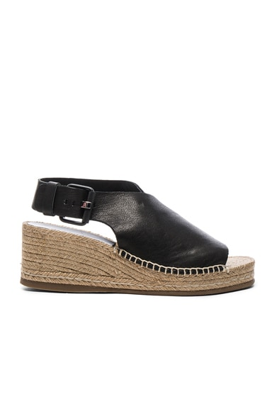 Rag & Bone Leather Sienna Espadrille Wedges in Black