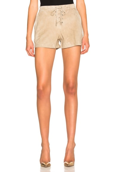rag & bone/JEAN Lace Up Shorts in Stone Suede