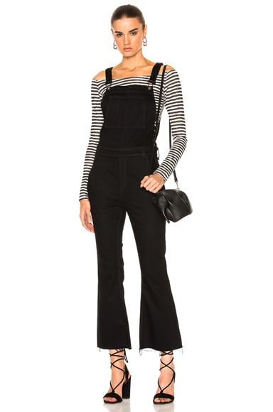 rag & bone/JEAN Crop Flare Overall in Coal
