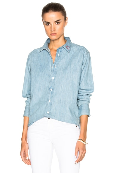 rag & bone/JEAN Embroidered Boyfriend Top in Chambray
