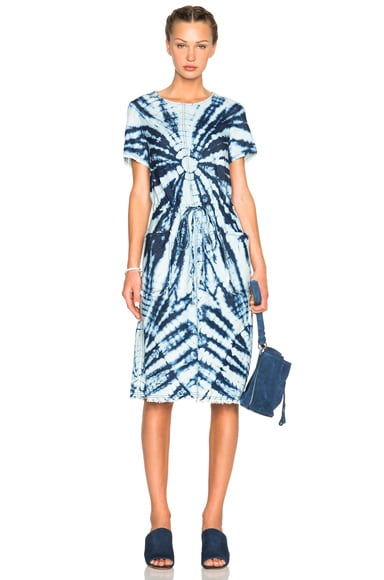 Raquel Allegra Drawstring Dress in Indigo Tie Dye