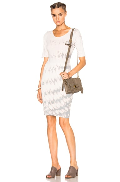 Raquel Allegra Short Sleeve Fitted Dress in Mist Tie Dye