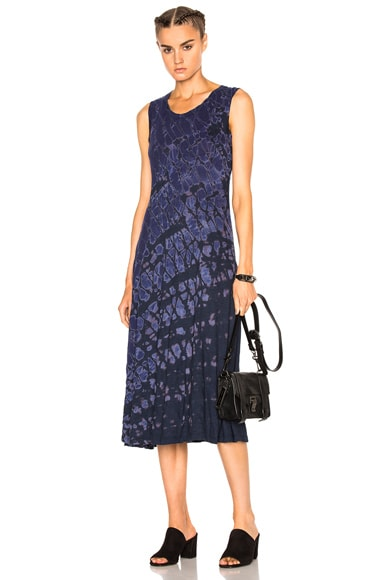 Raquel Allegra Big Sweep Dress in Indigo Tie Dye